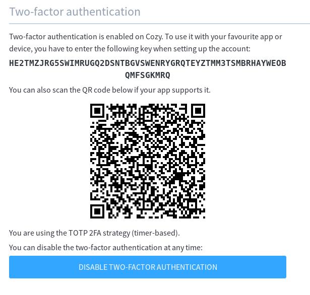 Two-factor authentication in Cozy - Announcement - Bienvenue